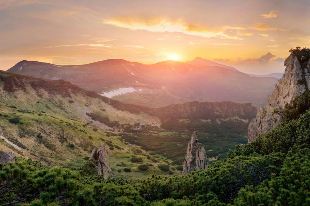 Unique mountain landscape on sunset
